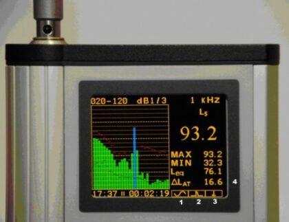 Измерение тонального шума на частоте 1000 Гц шумомером-виброметром Ассистент-Тотад